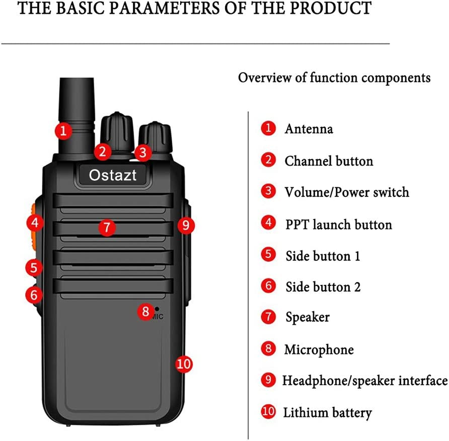Ostazt M4 Walkie Talkie USB Rechargeable Handheld Wireless Two Way Radios Long Range 16-Channel for Adults 6 Pack