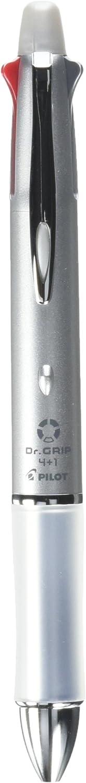 Pilot BKHDF1SF-S Dr. Grip 4+1, 4 Color 0.7 mm Ballpoint Multi Pen & 0.5 mm Pencil - Silver Body