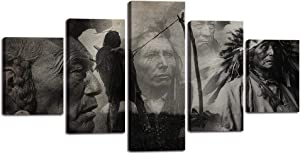 "5 Pieces Wall Art Canvas Painting Black and White American Indians Portrait Picture Native American Poster Print Artwork for Living Room Bedroom Office Home Decor Framed Ready to Hang (60""Wx32""H)"