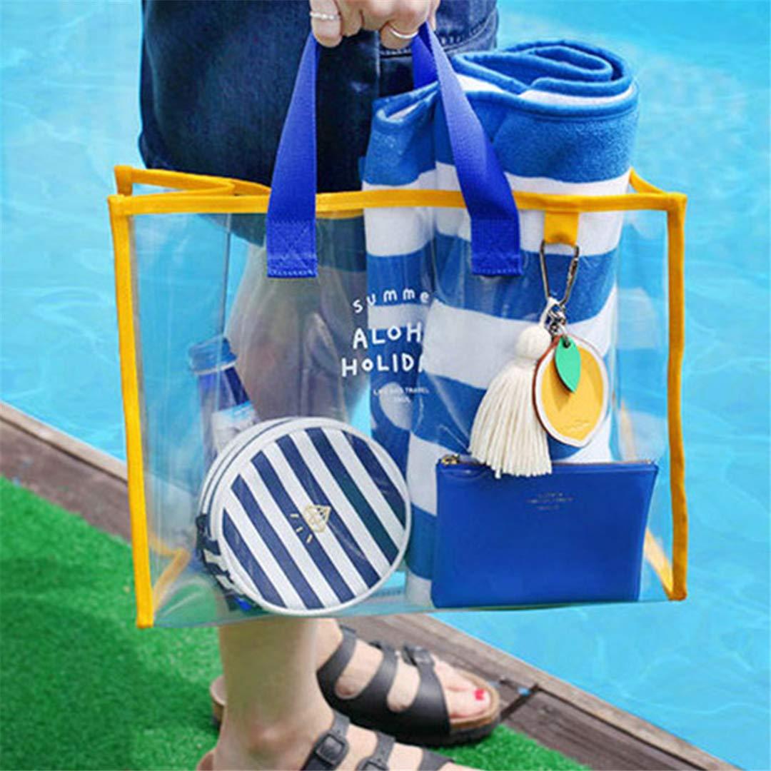 Amazon.com: Cleart Transparent Pvc Jelly Beach Bag Large ...