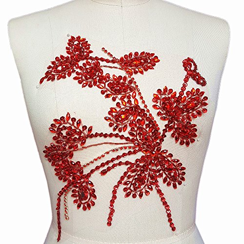 Handmade Beaded 27x35cm Bling Flower Red AB Color Stone Sequin Sew on Beads Rhinestones Applique Collar Trim Crystals Patches Sewing for Wedding Dress Accessory DIY Chest Waist Decoration