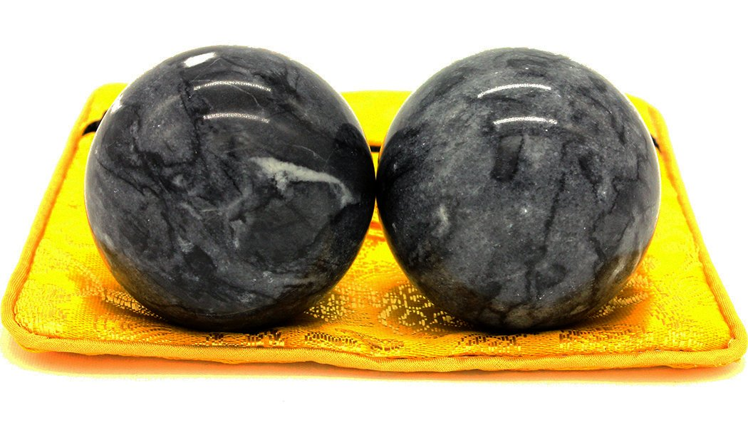 2'' Marble Health Stress Exercise Baoding Balls Black Grey Craft Collection BS002