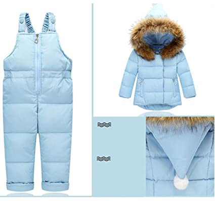 Hotmiss Baby Boys Girls Ultralight Snowsuit Winter Puffer Jacket and Overall Winter Coat and Snow Pants
