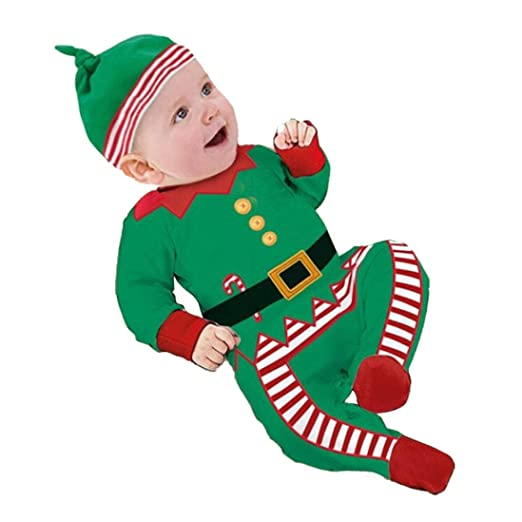 48b1b006cf18 Amazon.com  2017 Christmas Gift Toddler Baby Boys Girl Elf Outfit Clothes  Long Sleeve Jumpsuit Romper with Hat  Clothing