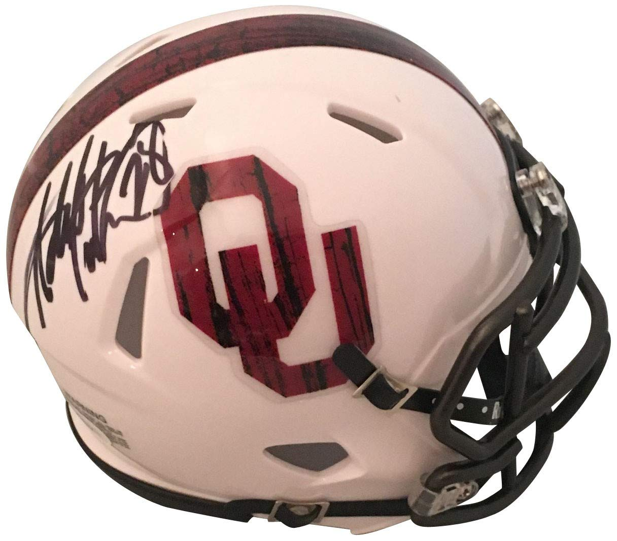Adrian Peterson Autographed Oklahoma Sooners Bring the Wood Signed Football Mini Helmet JSA COA Powers Collectibles