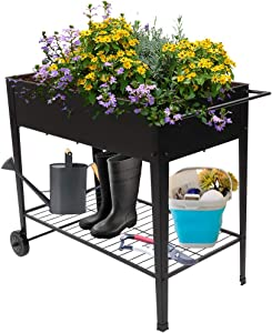 VINGLI Large Metal Raised Garden Bed Planter Box with Legs Outdoor Elevated Garden Bed for Vegetables, Fruits, Potato, Flowers Patio Balcony Greenhouse Garden
