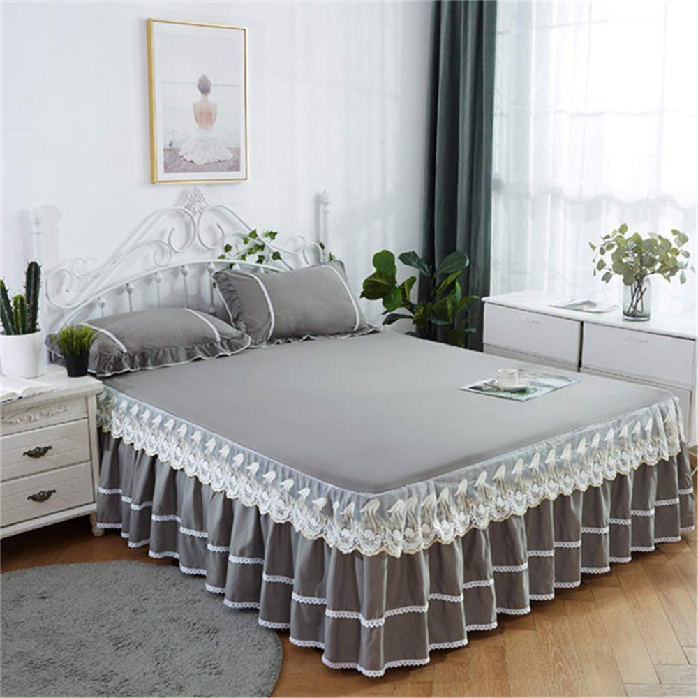 FENFDONG Skirt Lace Fitted Sheet Mattress Cover Petticoat Twin Full Bed Skirts by FENGDONG