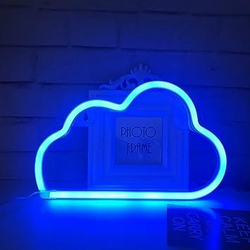Qiaofei Eclairage Led En Neon Bleu En Forme De Nuage