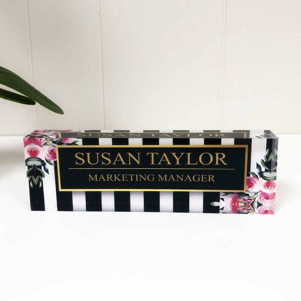 Desk Name Plate Personalized Name & Title, Stripes & Roses Printed on Premium Clear Acrylic Glass Block Custom Office Decor Desk Nameplate Unique Customized Desk Accessories Appreciation Gift