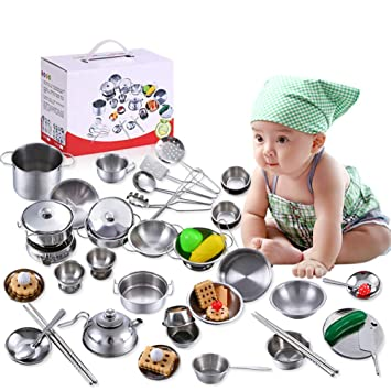 Buy Kaidi 25pcs Set Children S Stainless Steel Small Kitchen Utensils Cooking Girl Kitchen Toy Set Online At Low Prices In India Amazon In