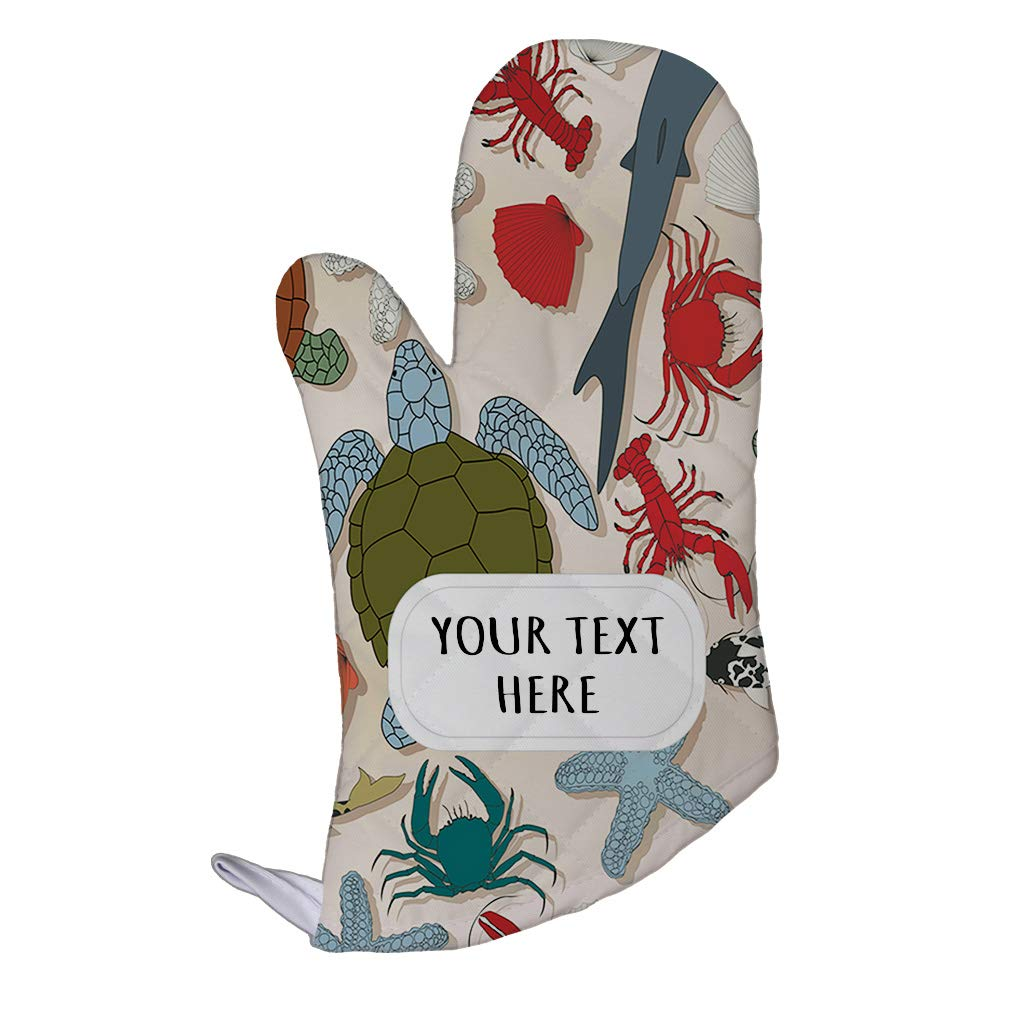 Polyester Oven Mitt Custom Wildlife Sea Creatures Seemless Pattern Adults Kitchen Mittens