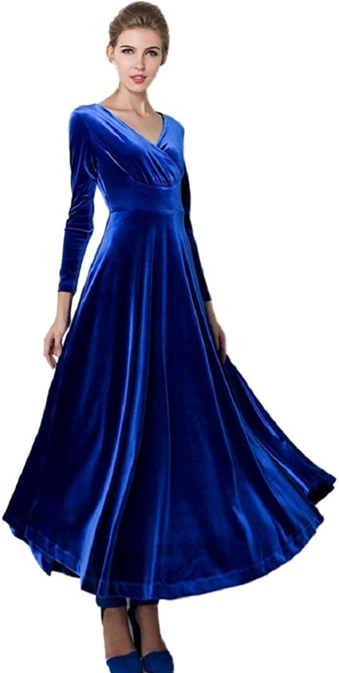 GONKOMA Women Hot Velvet Dress Plus Size Winter Ankle Maxi Long Tunics  Dresses