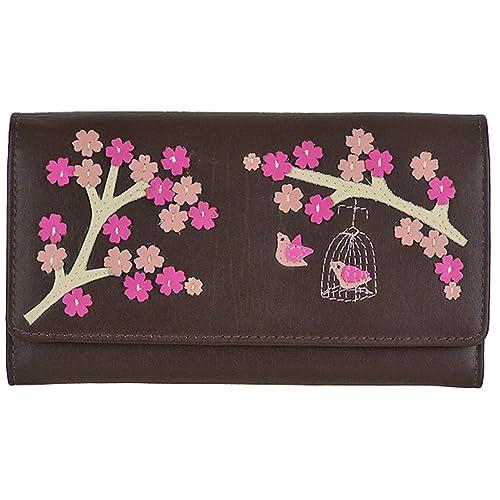 Saki Gran Cartera de Piel con Tres Compartimentos, para Mujer, con Mala Leather Marrón marrón: Amazon.es: Equipaje