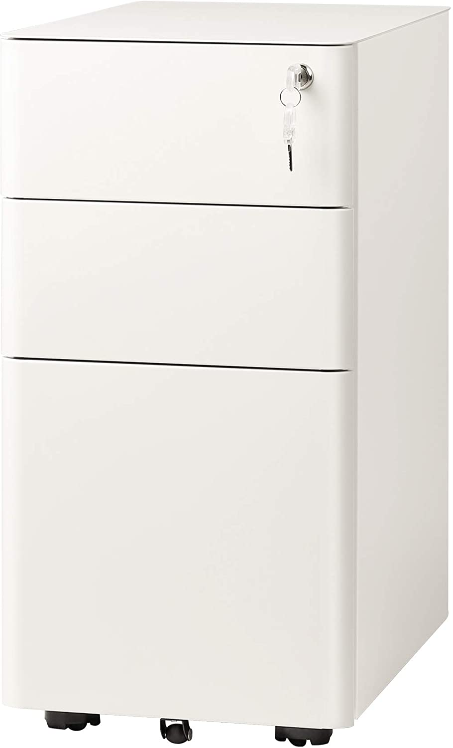 Amazon Com Devaise 3 Drawer Slim Vertical File Cabinet Fully Assembled Except Casters Legal Letter Size White Office Products