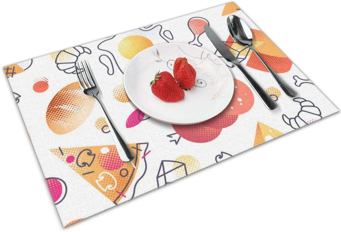 Amazon Com Politeey Icons Cuisine Cafe Placemat For Dining Table Washable Cross Weave Non Slip Insulation Placemat Vinyl Table Mat Set Of 4 12x18 Inch Home Kitchen