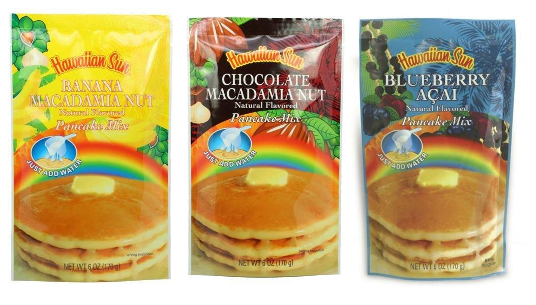 Hawaiian Sun Pancake Mix 3 pack (Blueberry Acai, Chocolate Macadamia Nut, Banana Macadamia Nut)