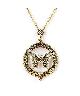 1 x Retro Lupa Colgante Cadena Collar (Mariposa)