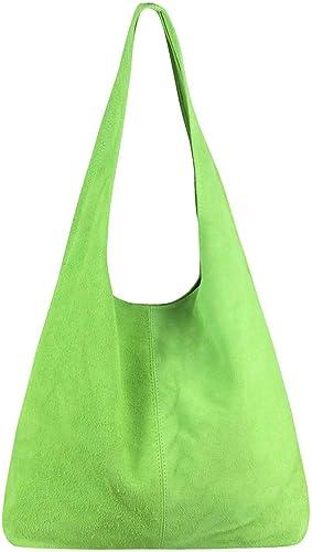 ITALy DAMEN LEDER TASCHE Metallic Shopper Schultertasche Henkeltasche Hobo-Bag
