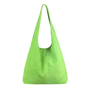 dfaa8cf1e6cca OBC Made IN Italy Damen Leder Tasche Handtasche Wildleder Shopper  Schultertasche Hobo-Bag Henkeltasche Beuteltasche