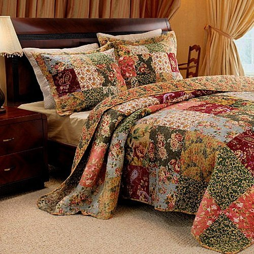 Amazon.com: French Country Floral Patchwork Cotton Quilt Bedding ... : patchwork quilts for sale - Adamdwight.com