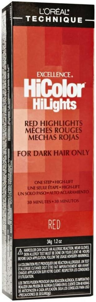 Tinte rojo LOreal Excel HiColor Highlights 34 G (3 unidades ...