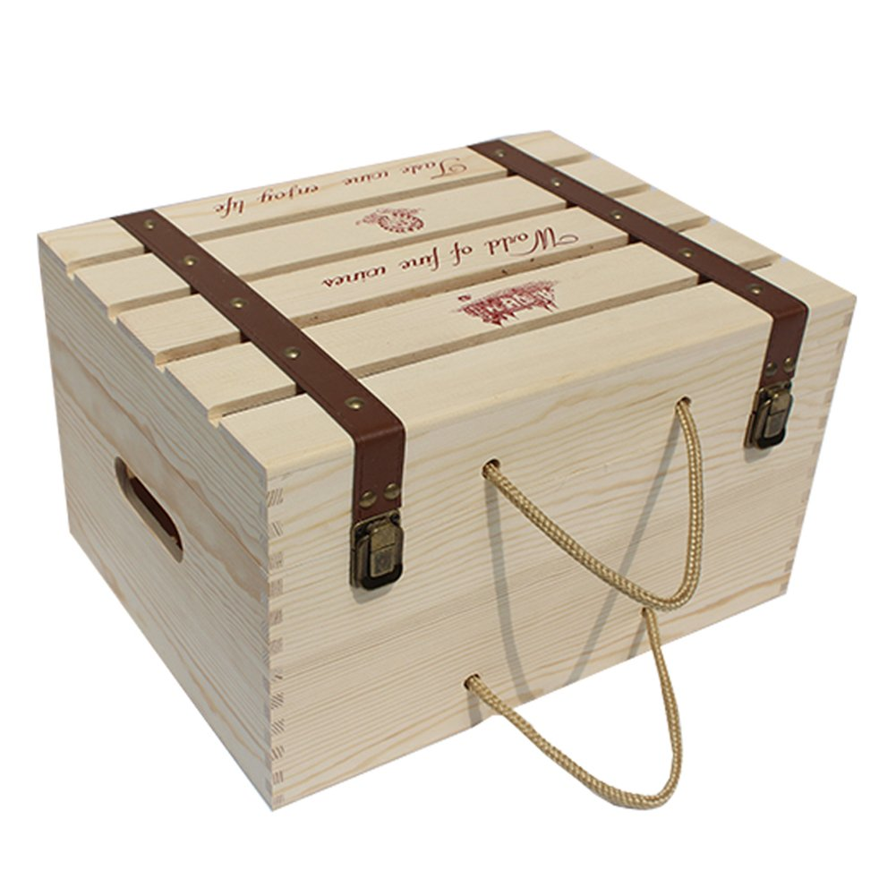 LANGUGU Natural Pine Wood Wine Champagne Bottle HolderTravel Storage Box Carrying Display Country Cottage Wooden Wine Bottle Faux Leather Crate Case Creative Wedding Wine Gift Case (Six Bottles)