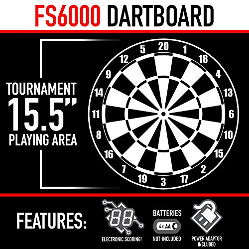 "Franklin Sports Electronic Dartboard Set - Digital Dartboard with Scoreboard - Official Size 15.5"" - Safe Soft Tip Dartboard - FS6000"