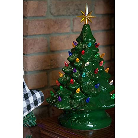 Image Christmas Tree.14 Retro Prelit Ceramic Tabletop Christmas Tree With 52 Multicolored Lights Green
