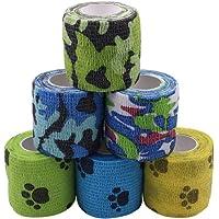 Houdao 6 rollos de vendajes autoadhesivos para mascotas, envoltura veterinaria para perros y caballos, vendajes…