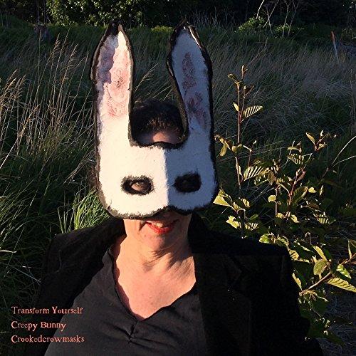 Creepy Bunny mask - masquerade mask - bunny rabbit costume - paper animal mask - designer mask halloween costume Steampunk Victorian Alice White (Creepy Alice In Wonderland Costume)