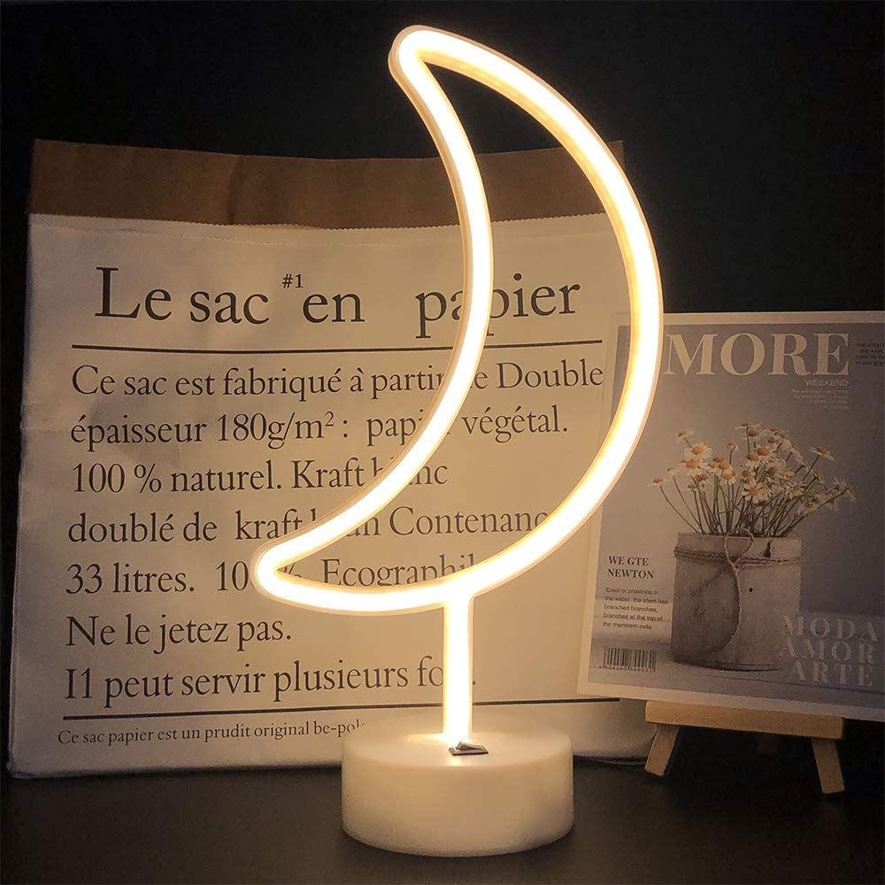 LED Warm White Moon Shape Led Neon Night Light with Holder Base Marquee Signs Light Powered by Battery&USB Marquee Signs for Home Party Birthday Bedroom Bedside Table Decoration Children Gifts