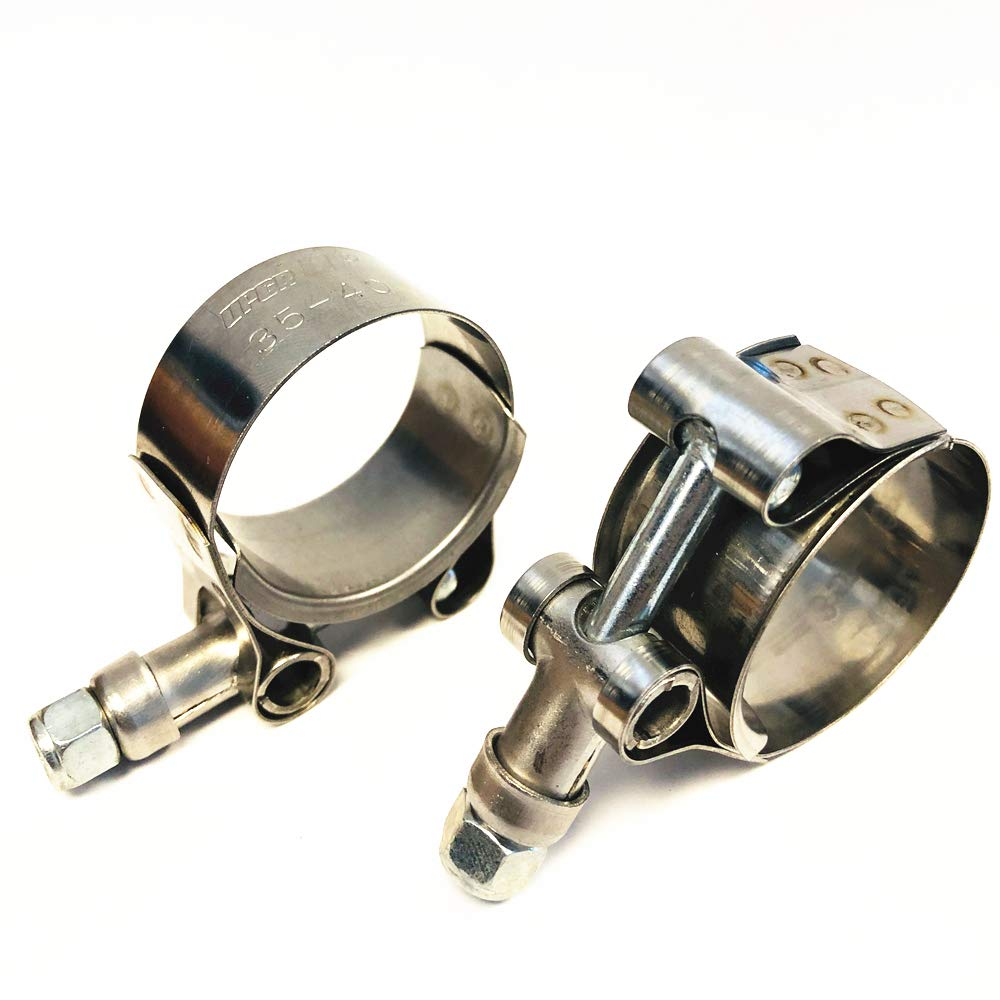 Upgr8 Stainless Steel T-Bolt Clamps Range 3.25-3.58 2 Pack 83MM-91MM For 3 Silicone Coupler Hose