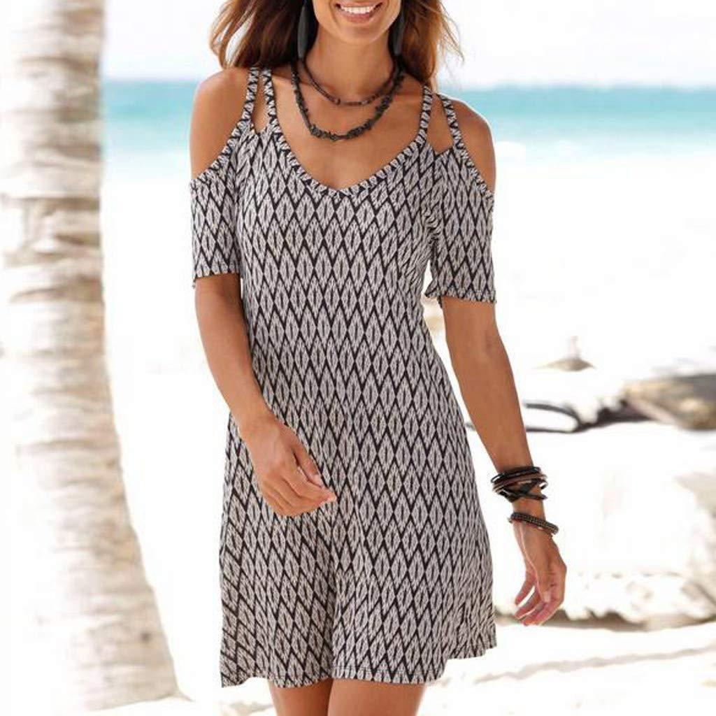 Women's Sexy Cold Shoulder Short Sleeve Midi Dress Geometric Pattern Boho Style Loose Sundress Vintage Sling Dresses (XXL) by Cealu (Image #3)