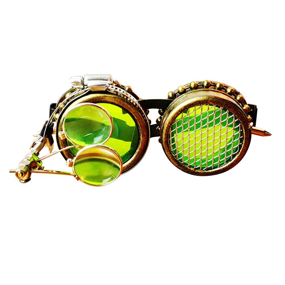KEHUASHINA Männer Steampunk Goggles Sonnenbrille Retro Männlich Original Brand Designer Steam Halloween Cosplay Punk Sonnenbrille
