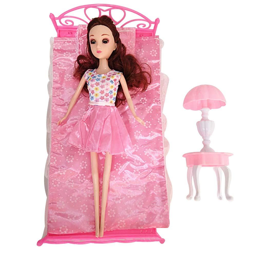 MAJGLGE Bambini Simulazione Letto Singolo Cuscino Lampada da Tavolo mobili Giocattolo per Barbie Doll 30 cm –  Colore Casuale
