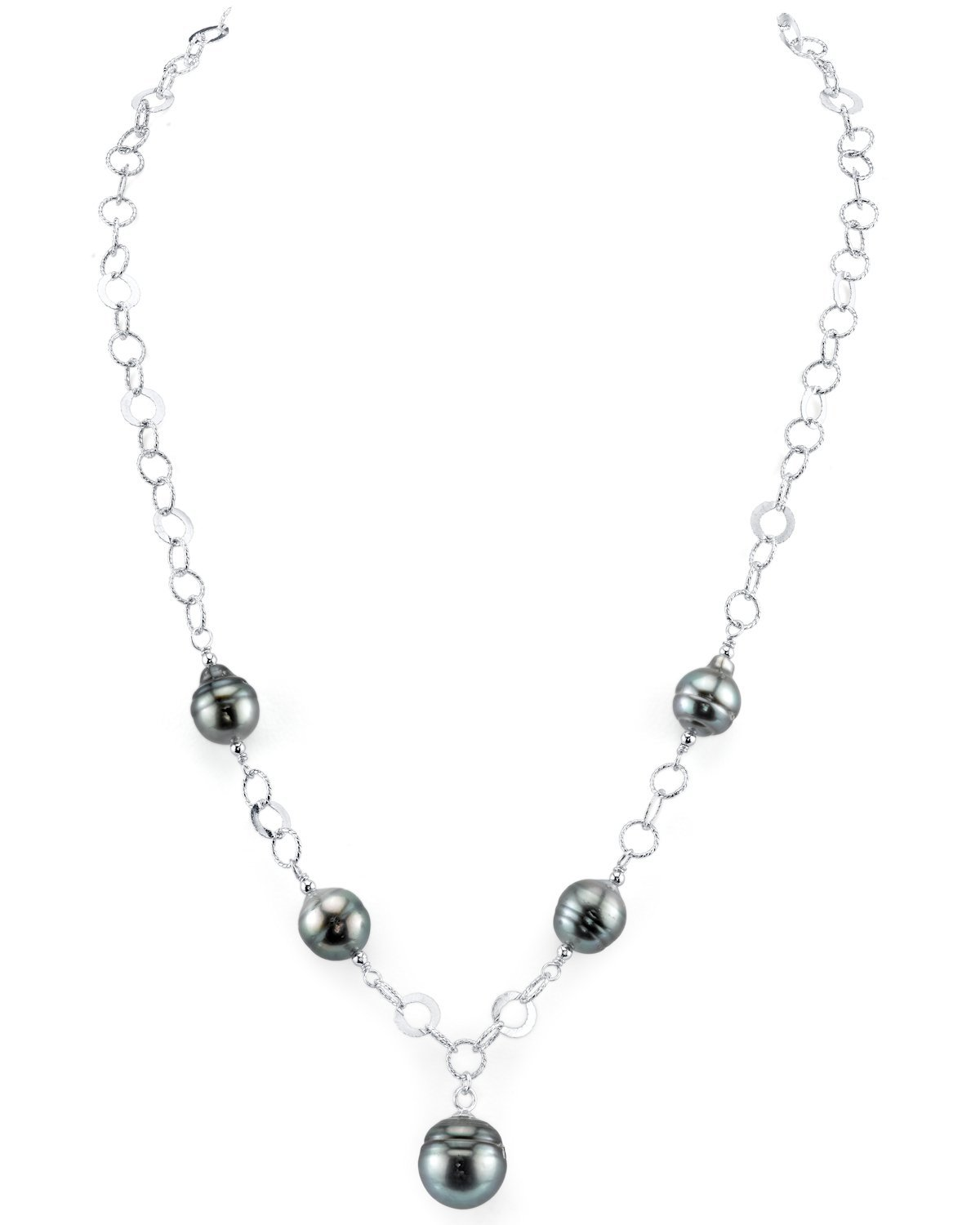 THE PEARL SOURCE 8-9mm Genuine Baroque Black Tahitian South Sea Cultured Pearl Necklace for Women by The Pearl Source