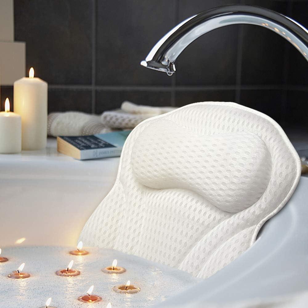 AmazeFan Cojín de baño de Lujo para bañera y SPA con tecnología de Malla de Aire 4D y 6 ventosas. Soporte para Cabeza, Espalda, Hombros y Cuello. Adecuado para bañeras, jacuzzis y SPA en casa.