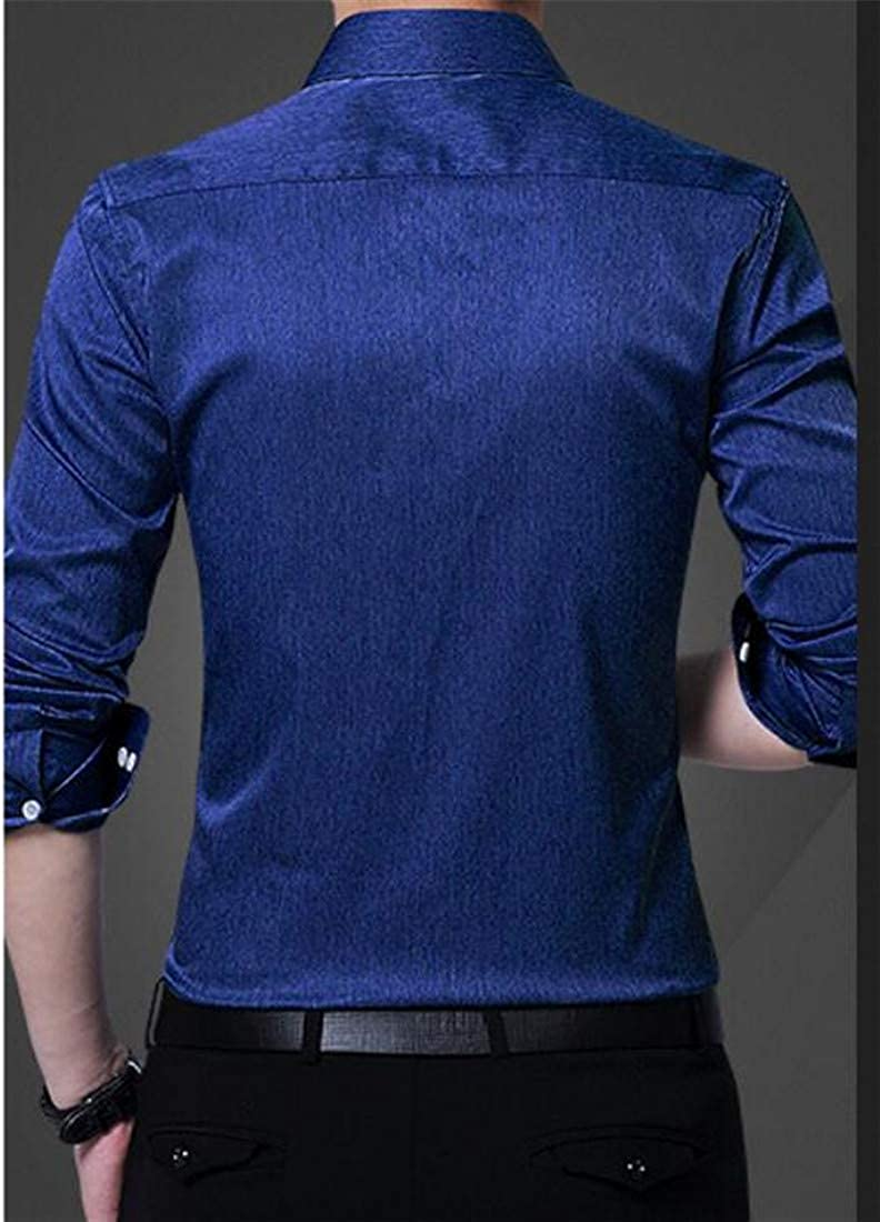 Lutratocro Men Long Sleeve Button Front Workwear Slim Casual Solid Dress Shirt