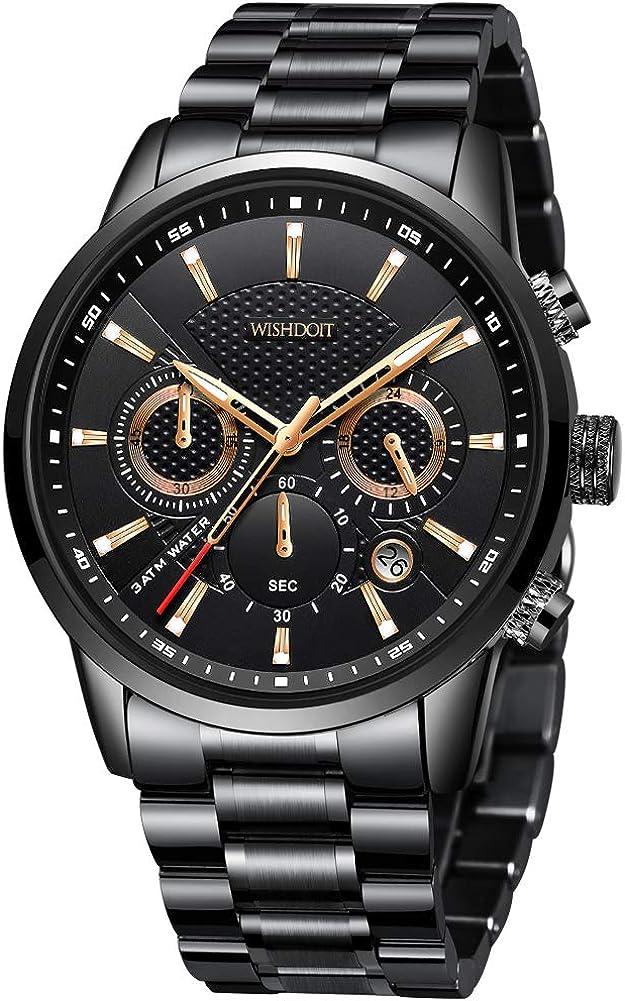 WISHDOIT Hombre Elegante Deportes Reloj de Cronógrafo de Cuarzo Analógico Impermeable con Moda Negro Pulseras de Acero iInoxidable