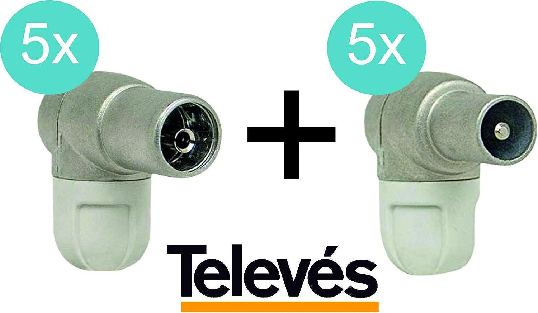 TELEVES Pack Conectores Antena TV TDT 5 uds Macho 4130 ...