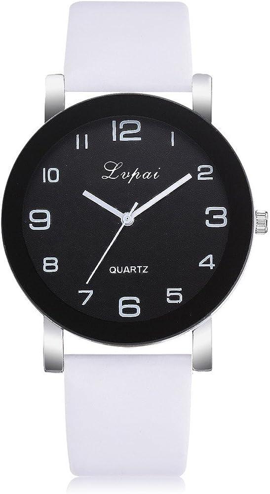 Leedy - Reloj de pulsera analógico para mujer (cuarzo, acero inoxidable, con correa de piel, esfera deportiva)