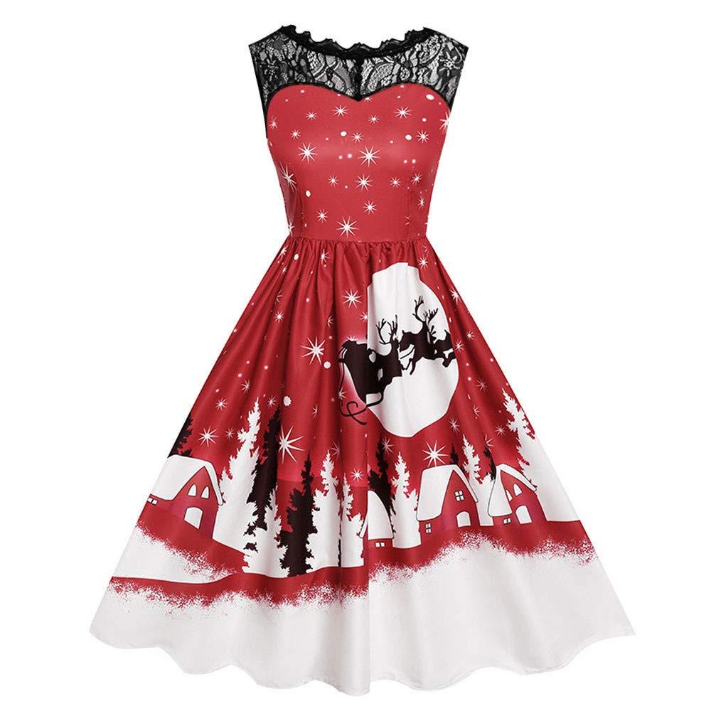 NRUTUP Women's Vintage Christmas Dress O-Neck Printed Sleeveless Lace A-Line Swing Dress NRUTUP-womens tops
