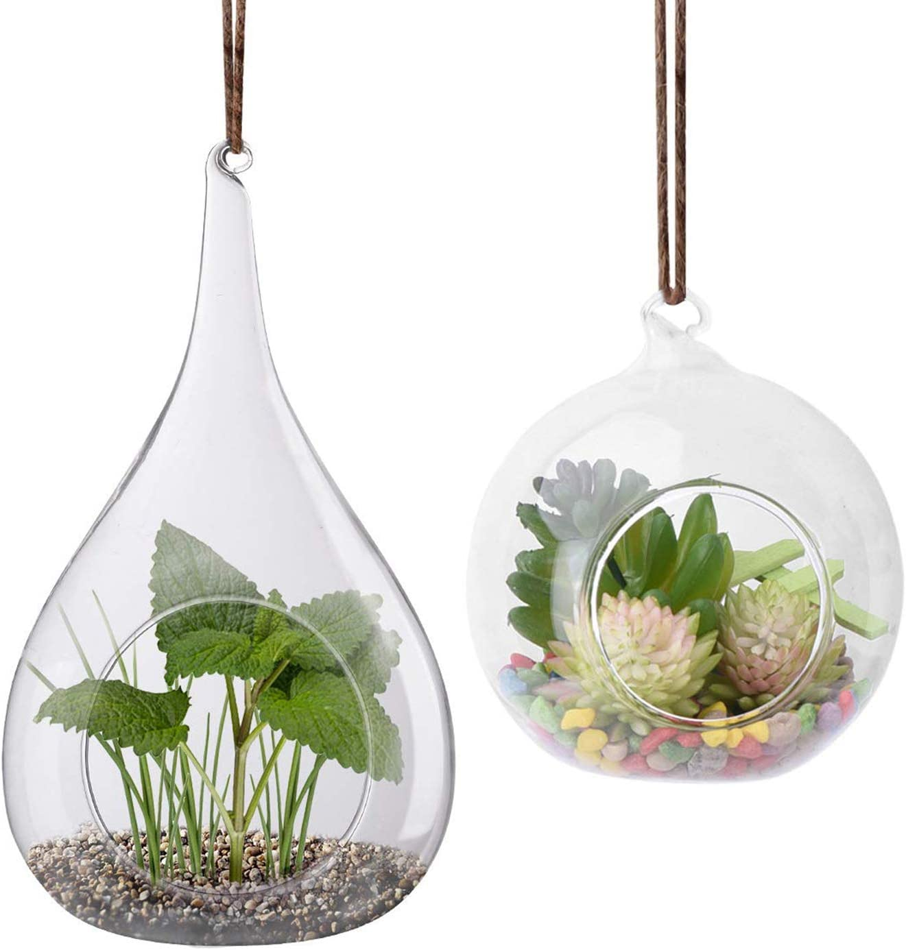 2 Pack Glass Hanging Planter Hanging Air Plant Terrarium Pots Heat-Resistant Glass for Succulent Fern Terrace Candle Holder, Garden Home Decor