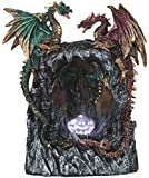 """StealStreet SS-G-71483 LED Light Up Red/Green Dragons Standing Over Castle Staute, 8.25""""/Large, Aqua"""