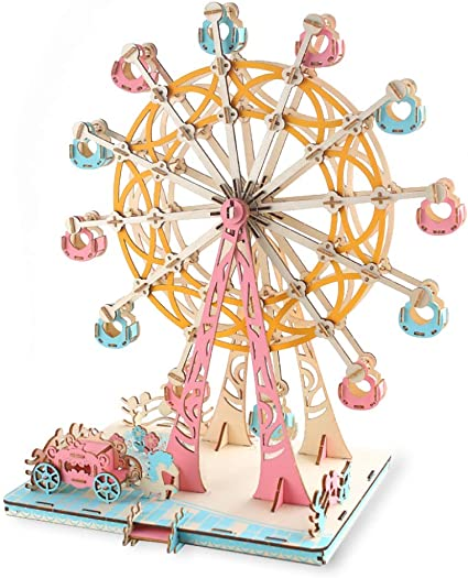 Ferris Wheel Music Box 3D Wooden Puzzle Model Building Assembly Toy Building Kit