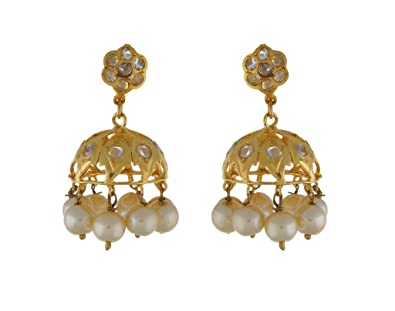 1053ccbd6905b Buy chaahat fashion jewellery Gold Plated CZ Stone Small Jhumki ...