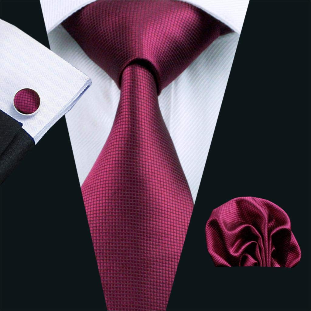 RXBGPZLD Caballero Corbata S/ólido Rojo 100/% Seda Jacquard Pa/ñuelo Corbatas Gemelos Conjunto Negocio De La Boda De La Boda Lazos Para Hombres
