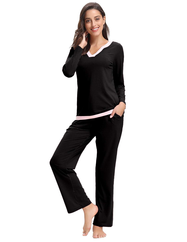 Aibrou Pijamas Mujer Algodon 2 Piezas Conjuntos Sexy e Elegante Manga Pantalon Largos, Suave Comodo y Agradable: Amazon.es: Ropa y accesorios