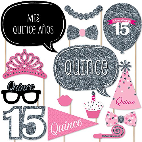 Big Dot of Happiness Quinceanera Pink - Sweet 15 - Birthday Party Photo Booth Props Kit - 20 Count