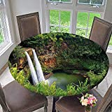 Mikihome Round Tablecloths Twin Wailuas Kauai Hawai Greenery Grass Scenic View Green or Everyday Dinner, Parties 59''-63'' Round (Elastic Edge)